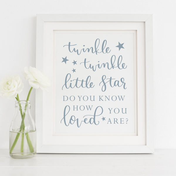 Twinkle Twinkle Little Star Do You Know How Loved You Are  Light Blue Printable
