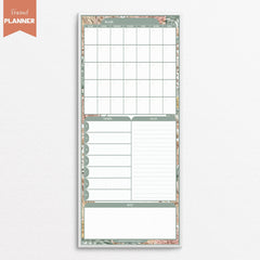 All in one command centre calendar weekly planner list notes boho design green white