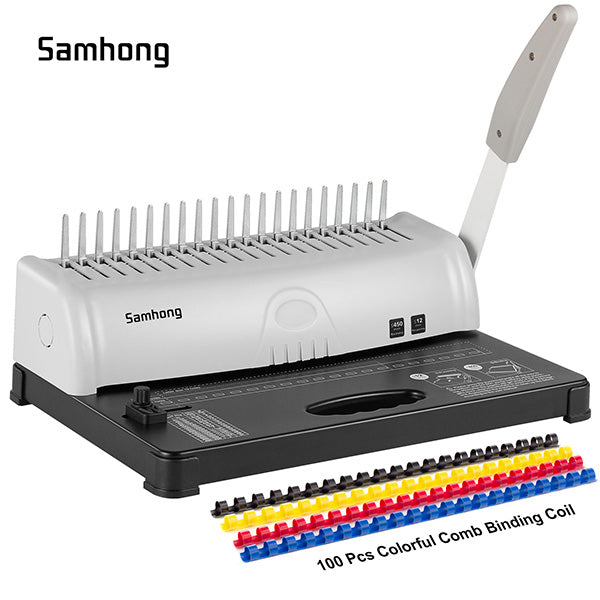 Samhong Binding Machines Combs 21 Hole 450 Sheets Paper Punch Binder Spiral Binding Machine 19 Hole Fit Letter Size with 100 PCS Colorful Comb Binding Coil