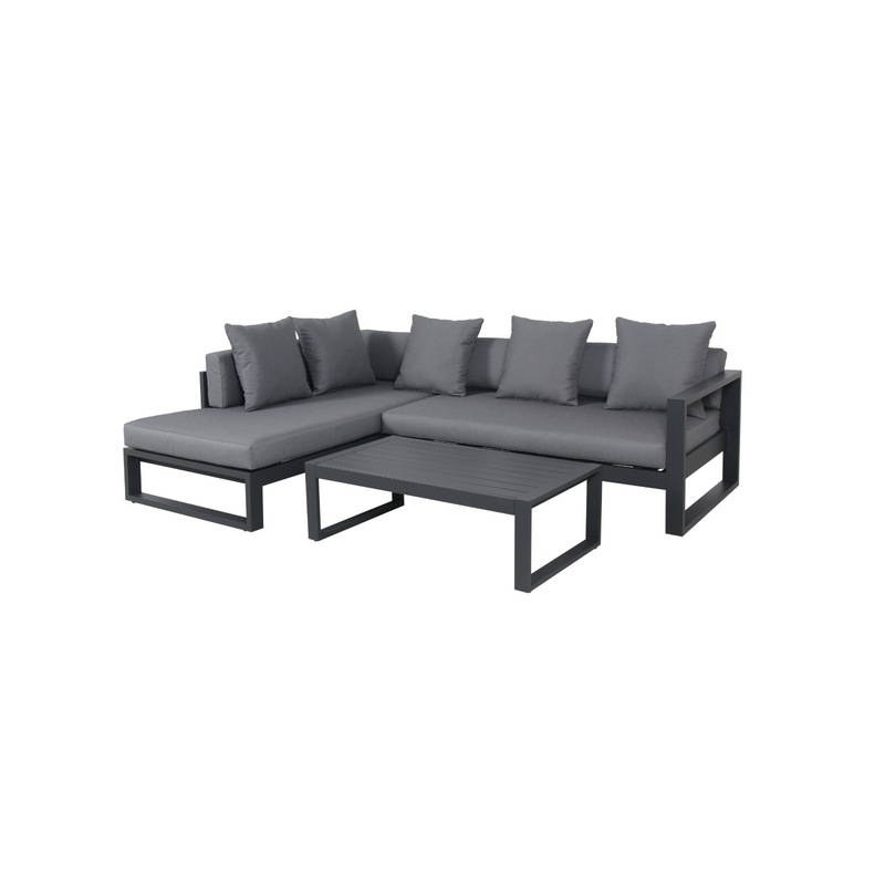 Aluminium - Costa Corner Sofa Set - Charcoal