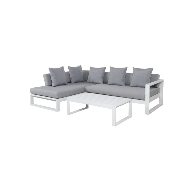 Aluminium - Costa Corner Sofa Set - White