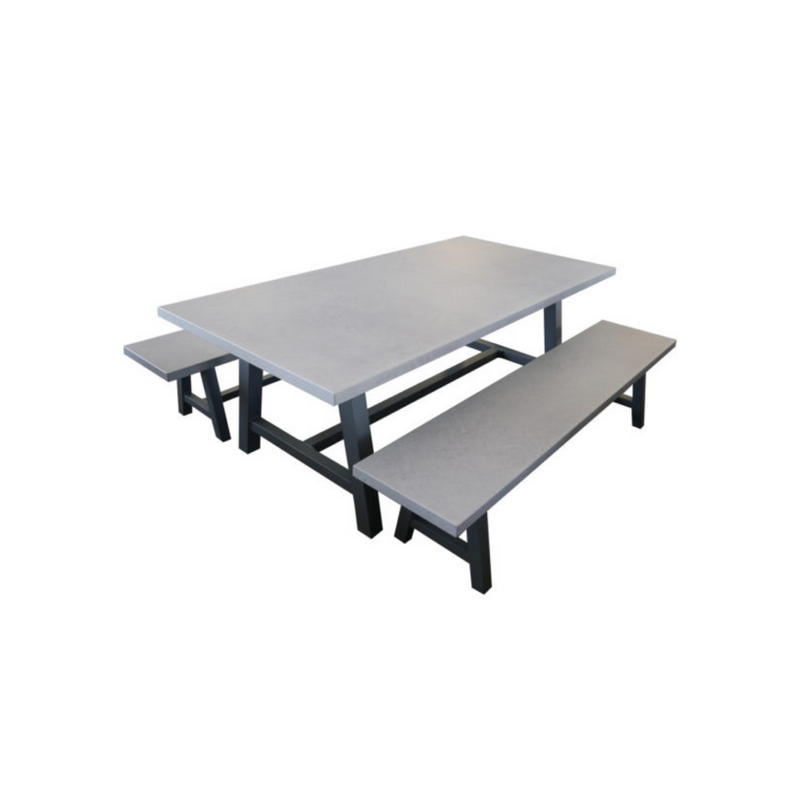 Cemento - 2m Cross Leg Bench Dining Set
