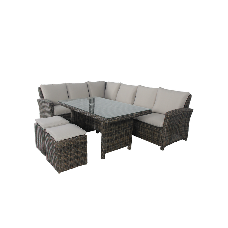 Wicker - Cancun Corner Dining Set  - Brown