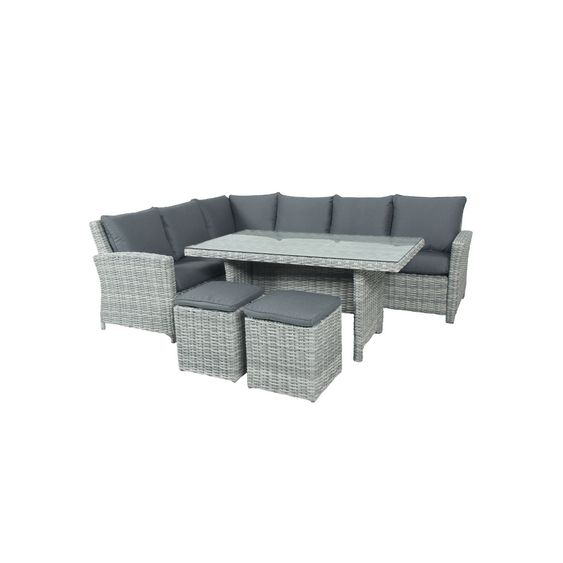 Wicker - Cancun Corner Dining Set - Grey