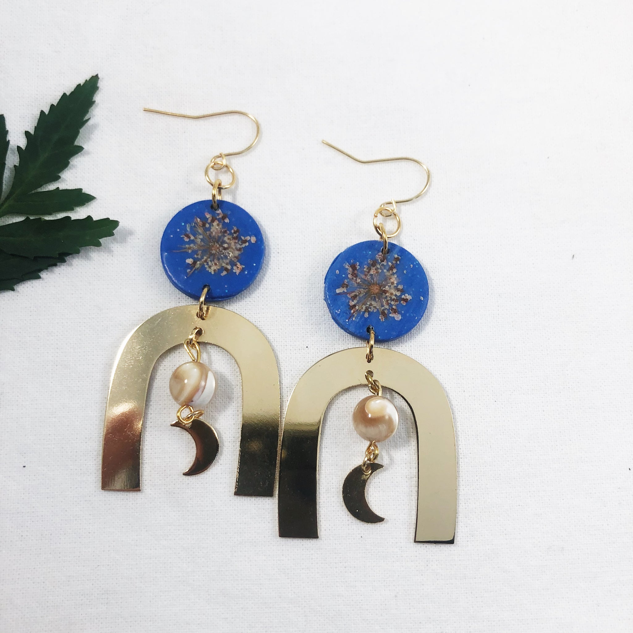 Marble Earrings with Silver Crescent Moon Dangle Polymer Clay Minimalistic Hoops