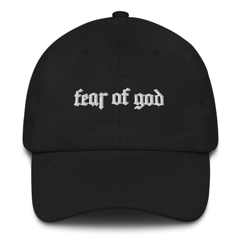 Honesteez LLC Accessory Black Fear of God  | Old English Font Graphic Embroidered Dad hat