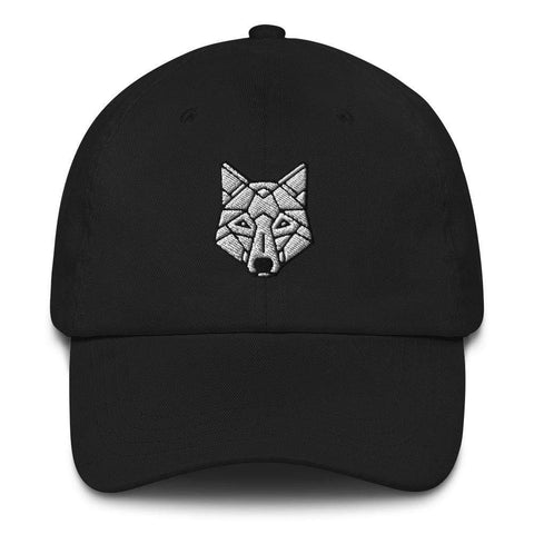 Honesteez LLC Accessory Black Geometric Wolf Graphic Embroidered Dad hat