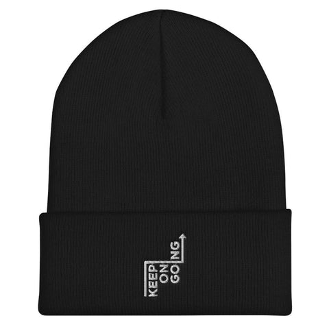 Honesteez LLC Accessory Black Keep On Going Graphic Embroidered Cuffed Beanie