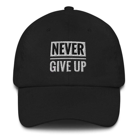 Honesteez LLC Accessory Black Never Give Up Graphic Embroidered Dad hat