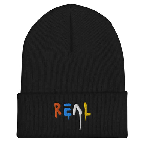 Honesteez LLC Accessory Black Real Graphic Embroidered Cuffed Beanie