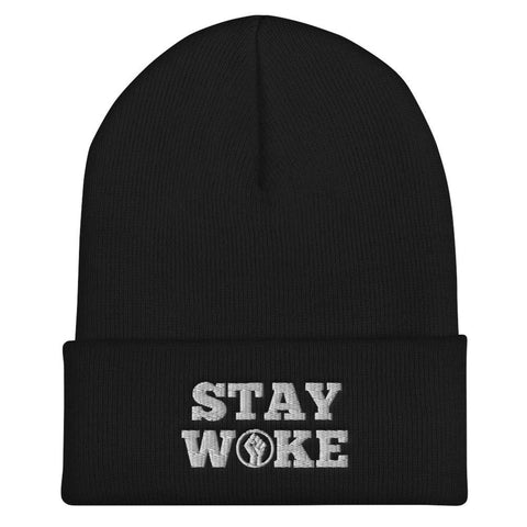 Honesteez LLC Accessory Black Stay Woke | Black Power fist Graphic Embroidered Cuffed Beanie