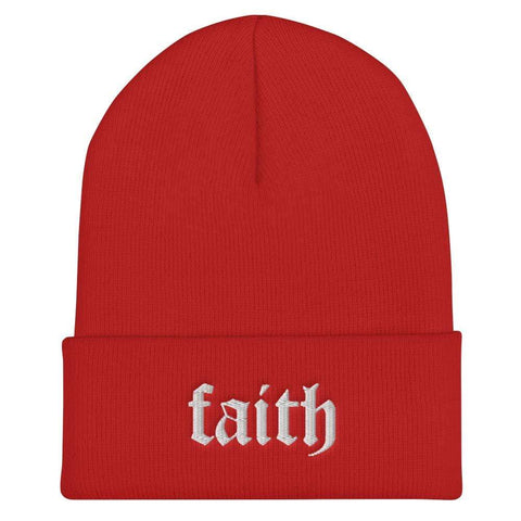 Honesteez LLC Accessory Red Faith | Old English Font Graphic Embroidered Cuffed Beanie