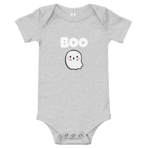 "Honesteez LLC Baby Clothing 3-6M / Heather Gray ""Boo"" Ghost Graphic Infant One-Piece"