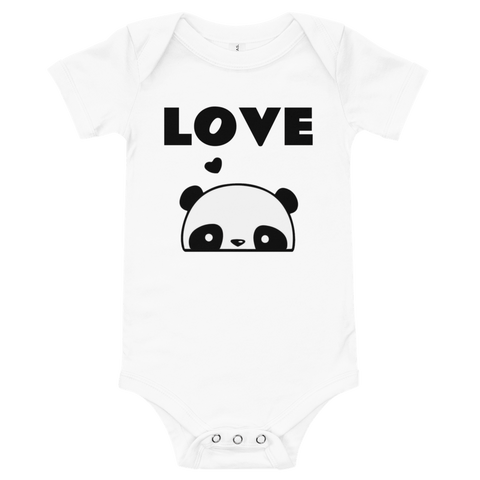 "Honesteez LLC Baby Clothing 3-6M / White ""Love"" Panda Graphic Infant One-Piece"