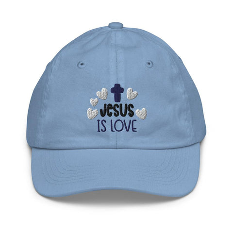 Honesteez LLC Kids Accessory Baby Blue Jesus is Love Graphic Embroidered Youth baseball hat