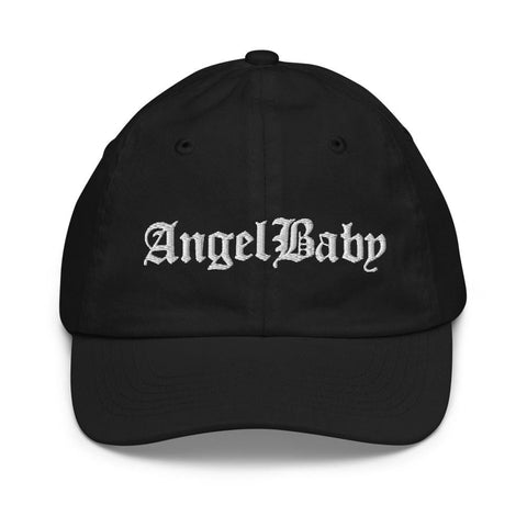 Honesteez LLC Kids Accessory Black Angel Baby | Old English Font Graphic Embroidered Youth baseball hat
