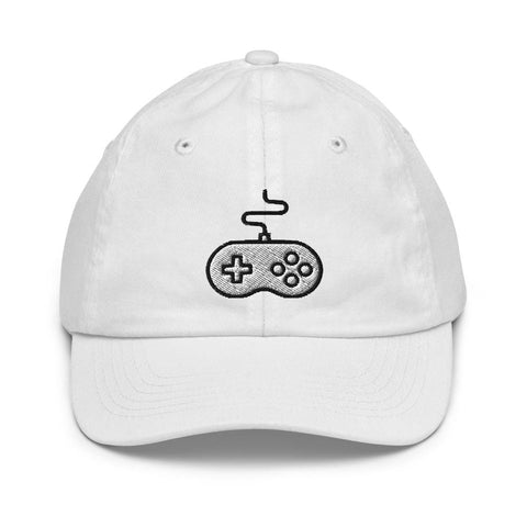 Honesteez LLC Kids Accessory White Game Controller Graphic Embroidered Youth baseball hat