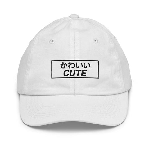 Honesteez LLC Kids Accessory White Kawaii (Cute) Japanese Kanji Embroidered Youth Dad hat