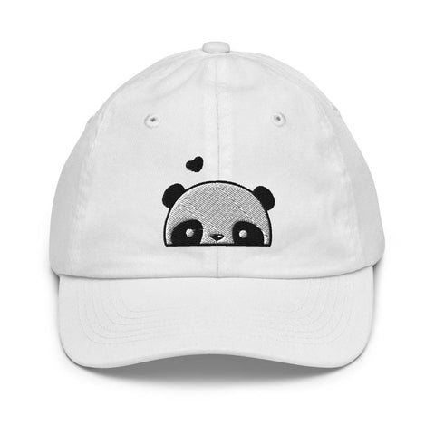 Honesteez LLC Kids Accessory White Love Panda Graphic Embroidered Youth baseball hat