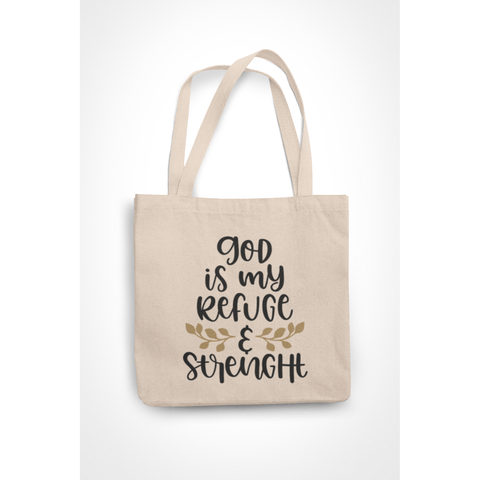 Honesteez LLC Tote Bag God is My Refuge & Strength 6 oz. Canvas Tote Bag