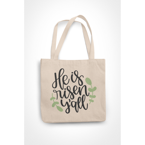 Honesteez LLC Tote Bag He is Risen Y'all 6 oz. Canvas Tote Bag