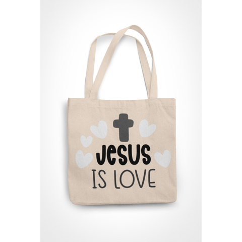 Honesteez LLC Tote Bag Jesus is Love 6 oz. Canvas Tote Bag