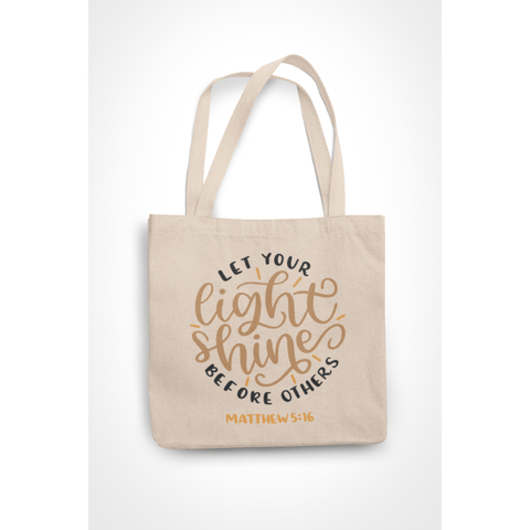 Honesteez LLC Tote Bag Let Your Light Shine Before Others Matthews 5:16 6 oz. Canvas Tote Bag