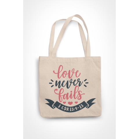 Honesteez LLC Tote Bag Love Never Fails 1 Corinthians 13:4-13 6 oz. Canvas Tote Bag