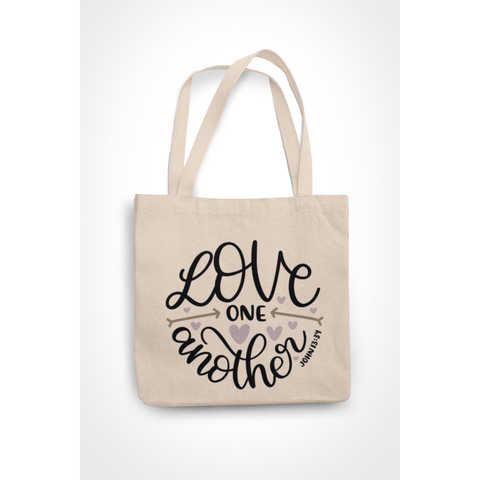 Honesteez LLC Tote Bag Love One Another John 13:34 6 oz. Canvas Tote Bag