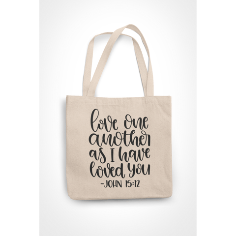 Honesteez LLC Tote Bag Love One Another John 15:12 6 oz. Canvas Tote Bag