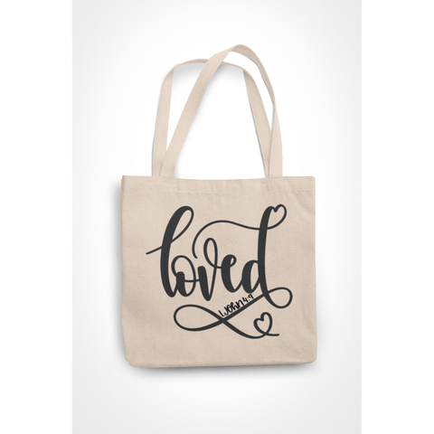 Honesteez LLC Tote Bag Loved 1 John 4:9 6 oz. Canvas Tote Bag