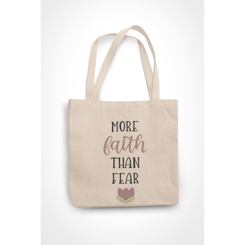 Honesteez LLC Tote Bag More Faith Than Fear 6 oz. Canvas Tote Bag