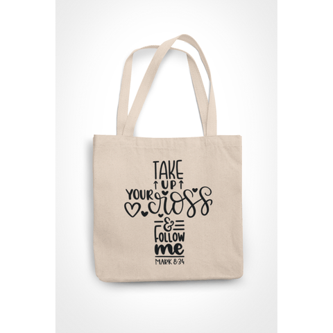 Honesteez LLC Tote Bag Take Up Your Cross Mark 8:34 6 oz. Canvas Tote Bag