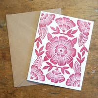 Fuschia Block Print Card - Box Set of 6