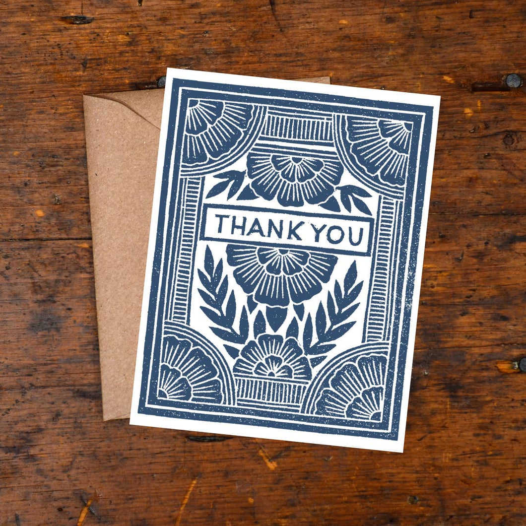Thank You Block Print Card - Box Set of 6