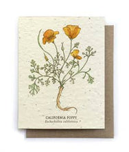 Load image into Gallery viewer, Plantable Seed Cards - California Poppy Blank Card