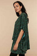 Lemer Cardigan & Closed T-Shirt - Green Floral - CHIC & SIMPLE