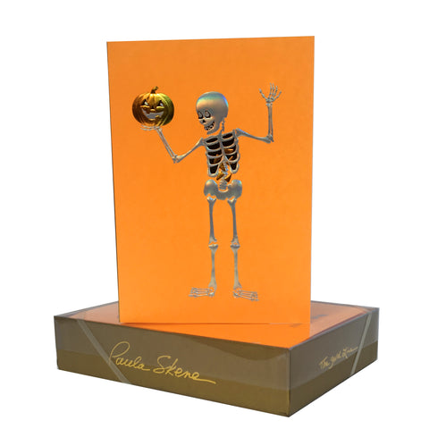 Skeleton Holding Pumpkin