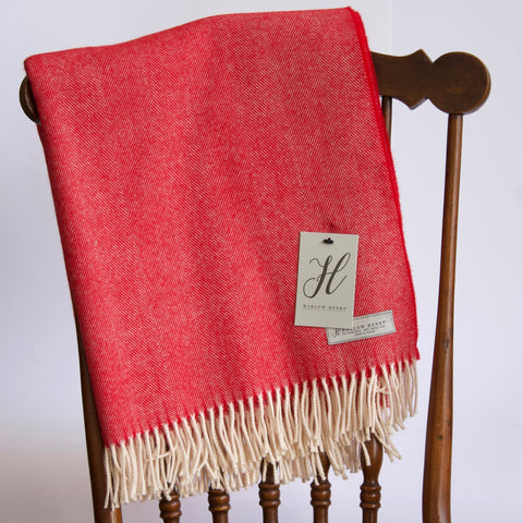 Harlow & Henry Merino Wool Throw - Crimson