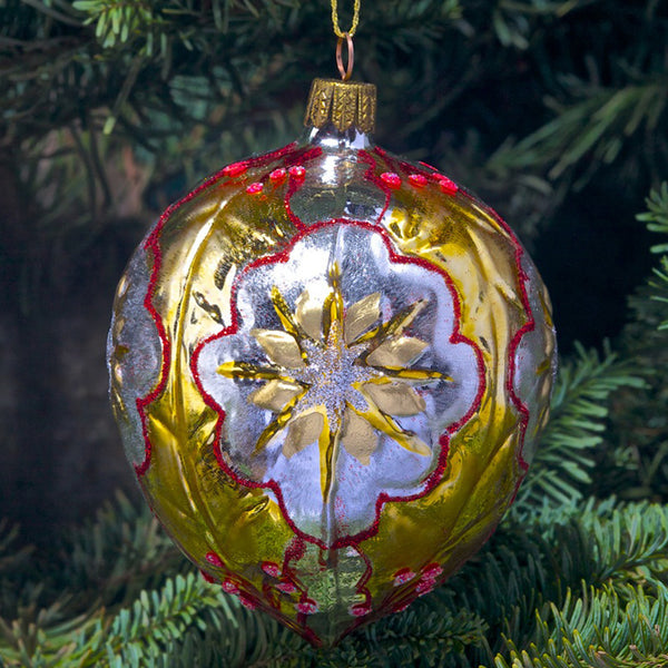 Holly Ornament - Silver