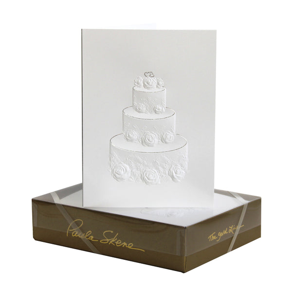 Rose & Lily Wedding Cake - Blind Embossed