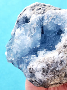 Bright Blue Celestite Geode | Madagascar