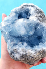Load image into Gallery viewer, Bright Blue Celestite Geode | Madagascar