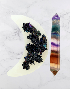 Moon & Stars Combo | Fluorite Wand, Selenite Moon Bowl, Carborundum Crystals