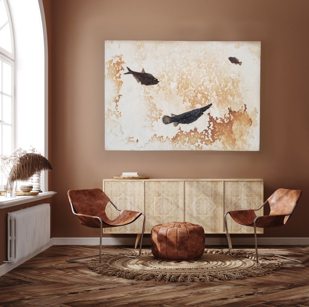 Gar, Diplomystus, Priscacara | Large Fossil Fish Mural Décor | Green River Formation