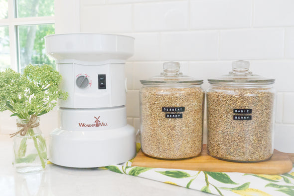 Unsifted's Starter Kit includes the WonderMill Electric (mill, flour canister assembly, and grey lid), Dessert Berry Blend, and Basic Berry Blend. (Note: The printed recipe cards, grey lid and flour cannister are not shown here)