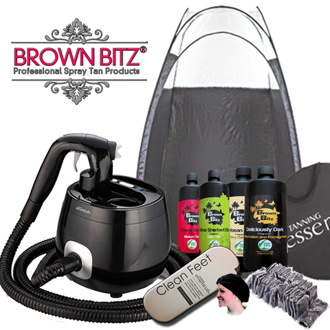 Tanning essentials Pro V spray tan machine package with tent solutions and disposables