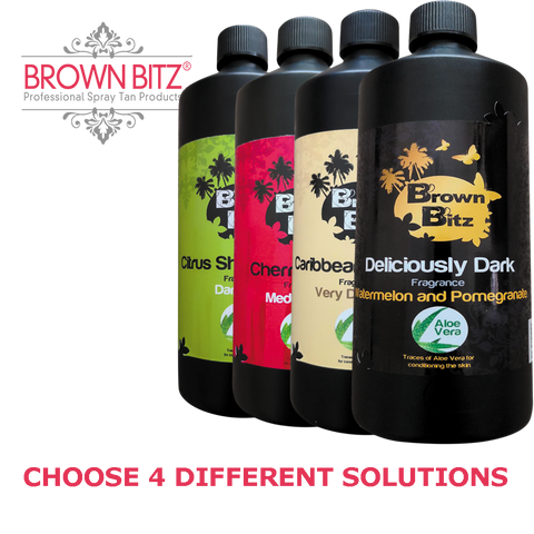 Brownbitz Spraytan solutions, 4 Bottles, Choose your sizes and tan solution type