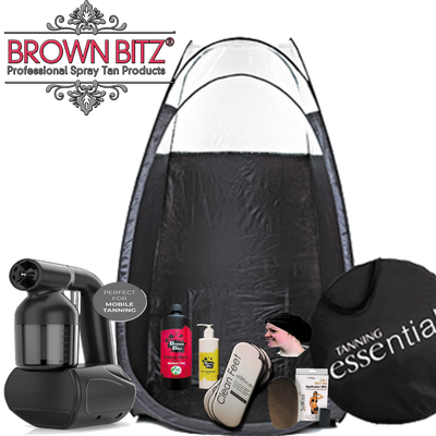 Mobile spray tanning package with machine tent solution and disposables - Brown Bitz                                                                                                                                                            .