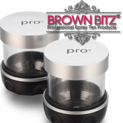 Pro v by tanning essentials Spare Solution pots and lids 2 in a pack - Brown Bitz                                                                                                                                                            .